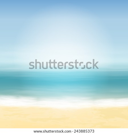 Beach and blue sea. Tropical background. EPS10 vector. - stock vector