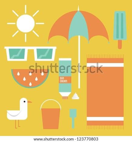 Beach and Summer Stuff - stock vector