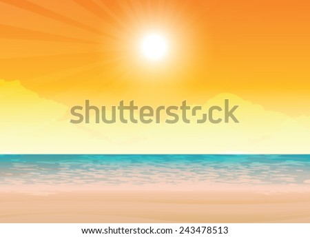 Beach and tropical sea  - stock vector