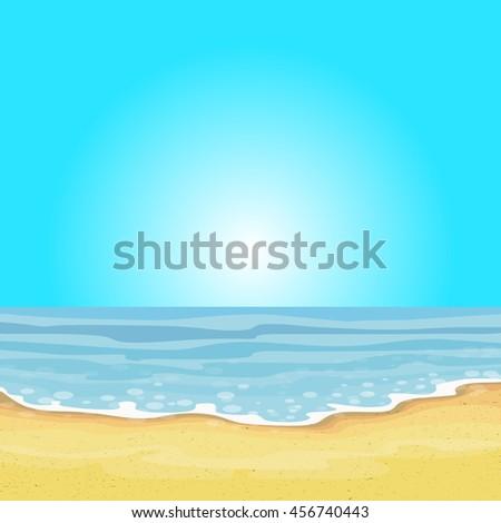 Beach and tropical sea vector. - stock vector