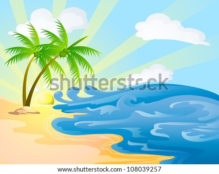 beach background with coconut trees - stock vector