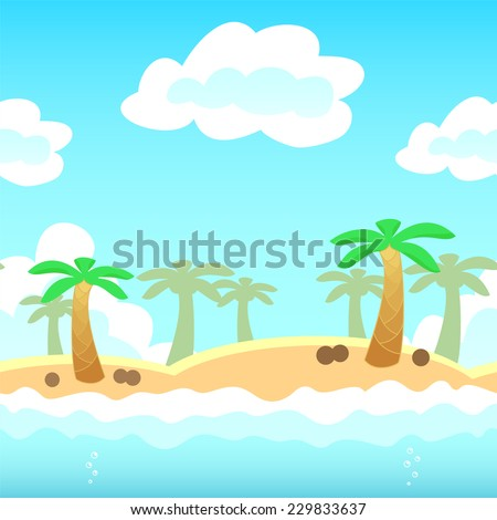 Beach background with palm, water and cloud. Vector illustration for holiday vocation design. Seamless tileable game background. - stock vector