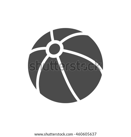 Beach ball icon in black and white grey single color. Playing inflatable kids. - stock vector