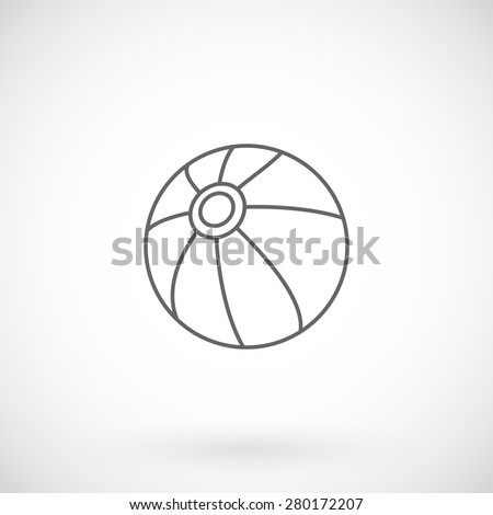 Beach ball  line icon, summer concept. - stock vector