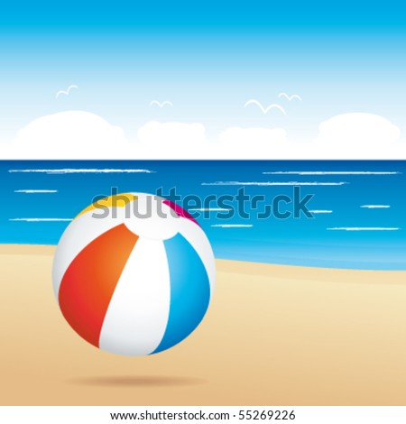 Beach ball on sand. Holiday vector illustration.. - stock vector