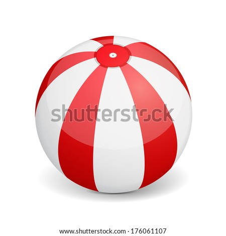 Beach ball on white background, vector eps10 illustration - stock vector