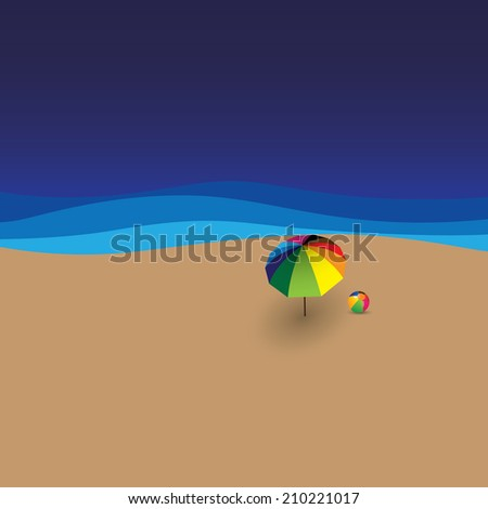 beach ball, sun umbrella, sea & waves - vector graphic. This graphic also represents summer time vacation template for advertisements, promotions, flyers, etc - stock vector