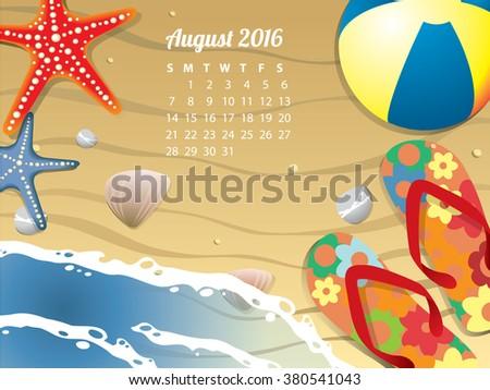 Beach Calendar for August 2016 - stock vector