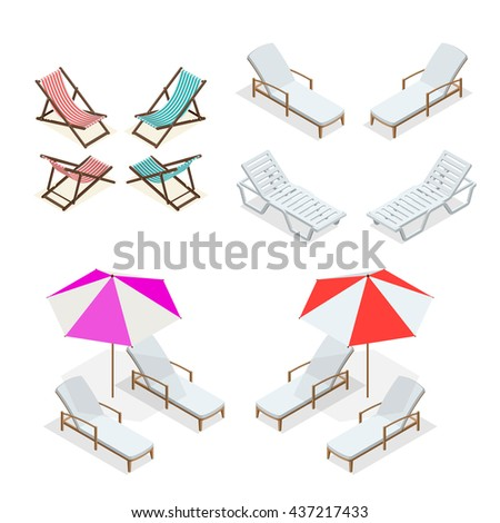 Beach chairs isolated on white background. Wooden and plastic beach chairs. Flat 3d vector isometric illustration. Idyllic travel elements. Relaxing on the beach. - stock vector