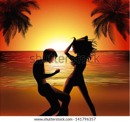 beach dance - stock vector