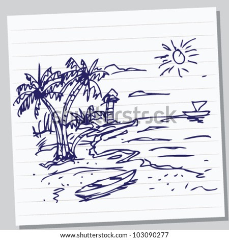 beach doodle illustration - stock vector