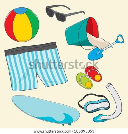 beach equipments - stock vector