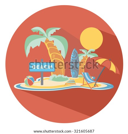 beach flat icon in circle - stock vector