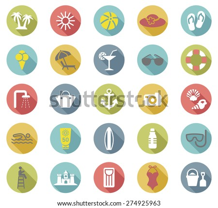Beach flat icons set.Vector - stock vector