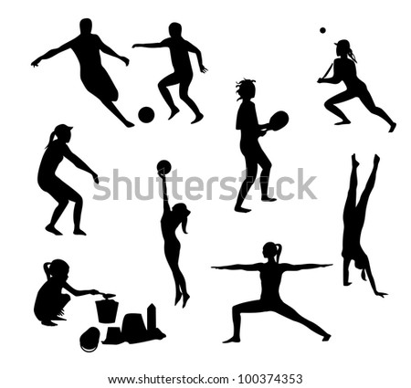 Beach games silhouettes pack - stock vector