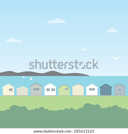 beach houses - stock vector