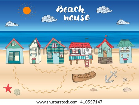 Beach huts and bungalows, hand drawn outline color doodle set with light house wooden boat and anchor, seashells and footsteps on sandy beach, vector illustration. - stock vector