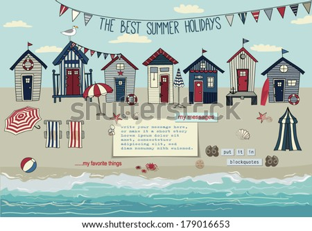 Beach Huts - Summer poster and advertisement for summer holidays, with bunting, lounge chairs, beach umbrellas, summer accessories, sandy beach and paper notes with plenty of copyspace, hand drawn - stock vector