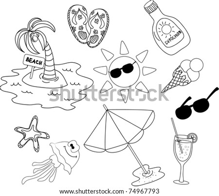 beach icon set, black and white coloring - stock vector
