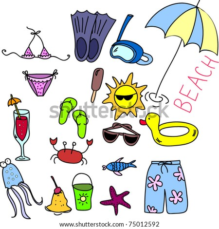 beach icon set,  children drawing - stock vector
