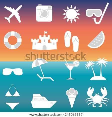 Beach icons and Summer signs set. Travel and vacation vector illustration. - stock vector