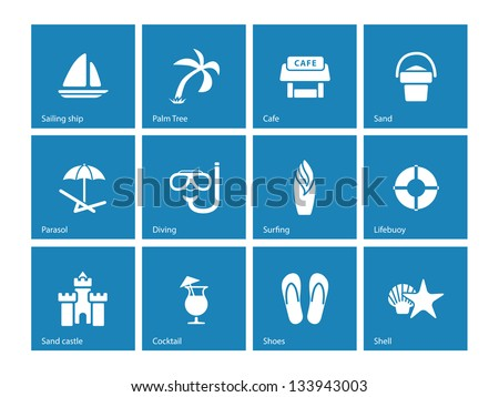 Beach icons on blue background. Vector illustration. - stock vector