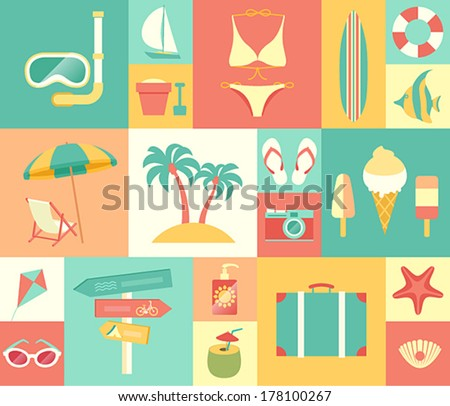 Beach icons set. Vector illustration. - stock vector