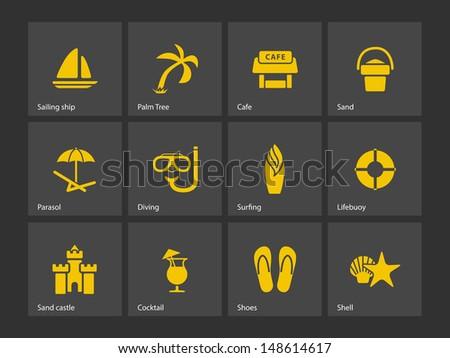 Beach icons. Vector illustration. - stock vector