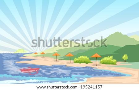 beach landscape cartoon illustration - stock vector