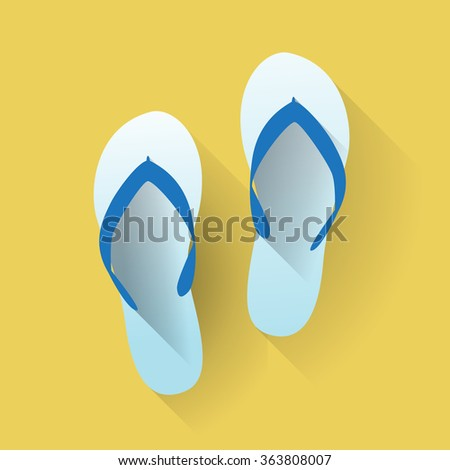 Beach sandals in a flat design - stock vector