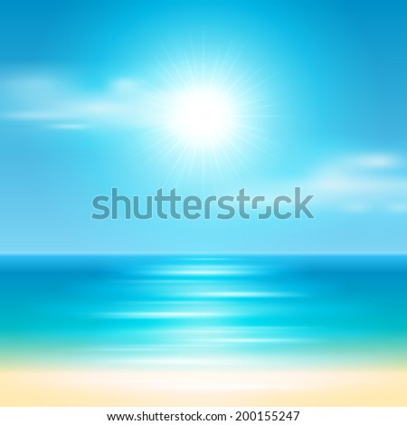 Beach sea and sun summer holidays vector background.  - stock vector