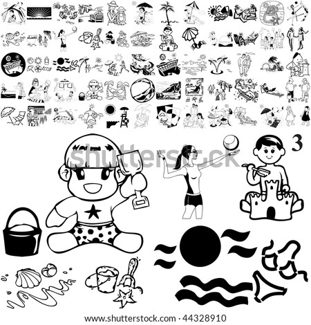 Beach set of black sketch. Part 101-3. Isolated groups and layers. - stock vector