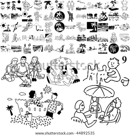Beach set of black sketch. Part 103-9. Isolated groups and layers. - stock vector