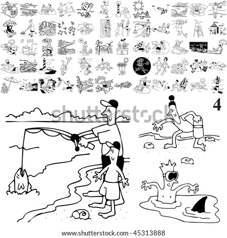 Beach set of black sketch. Part 104-4. Isolated groups and layers. - stock vector