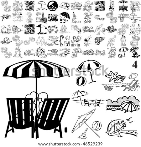 Beach set of black sketch. Part 105-4. Isolated groups and layers. - stock vector