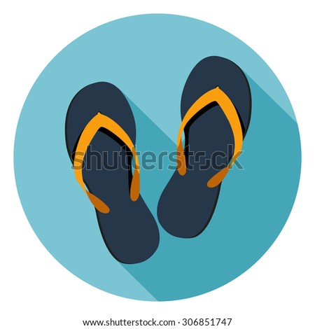 Beach Slippers Flat icon.Vector - stock vector
