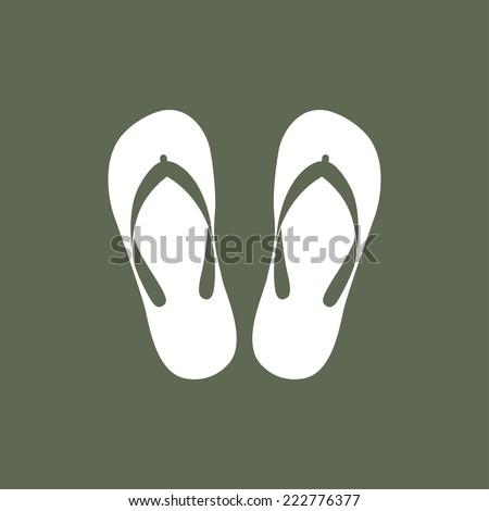 Beach slippers icon - Vector - stock vector