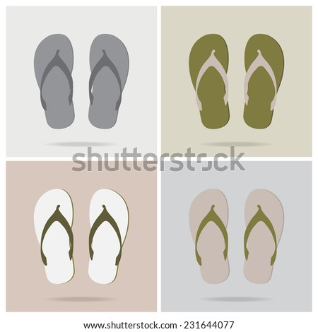 beach slippers with color variations,Vector EPS 10 - stock vector