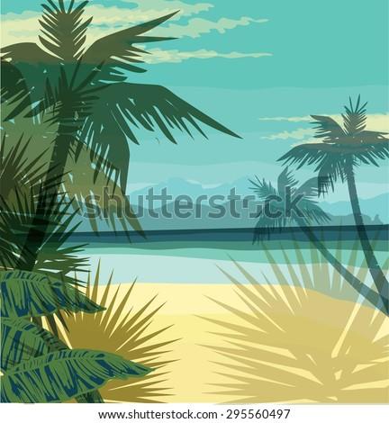Beach summer background. Vector illustration - stock vector