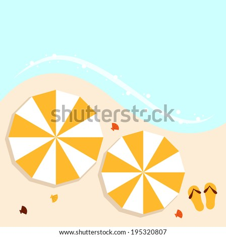 Beach summer background with umbrellas  - stock vector