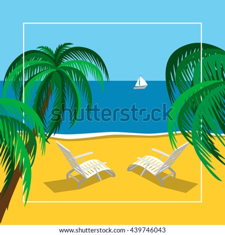 Beach summer landscape. Vacation, relaxation, ocean, chaise-lounge, yacht, palm.  - stock vector