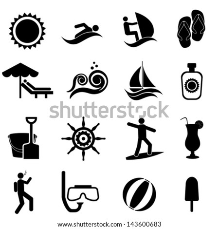 Beach, summer, travel and nautical icon set - stock vector