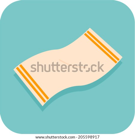 beach towel icon - stock vector