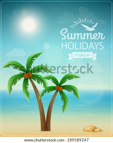 Beach typographic background with palms eps10 - stock vector
