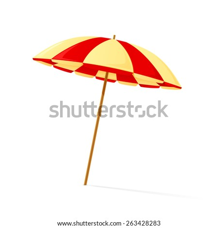Beach umbrella isolated on white background, illustration. - stock vector