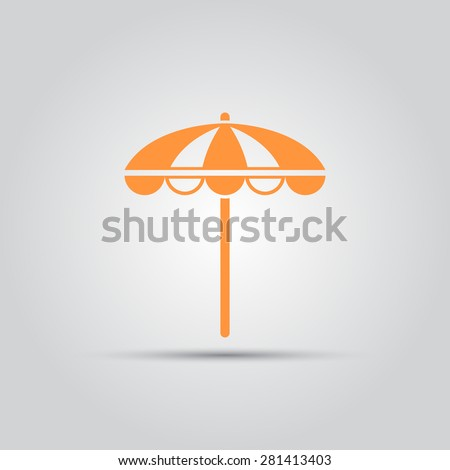 beach umbrella isolated vector colored single icon symbol - stock vector