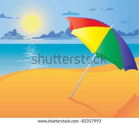 Beach umbrella. Vector illustration. - stock vector