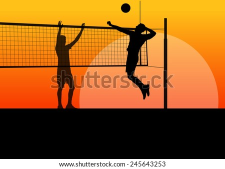 Beach volleyball man player vector sunset background concept - stock vector