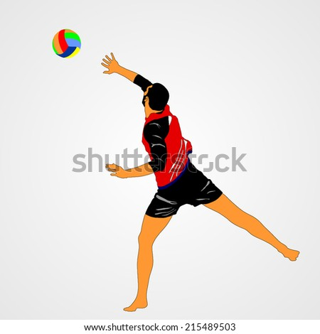 beach volleyball player vector illustration isolated on background. (1/30 image).  - stock vector