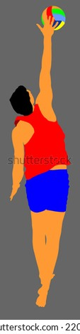 Beach volleyball player vector illustration isolated on background. Player at service serving.  - stock vector